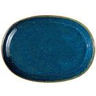 Oneida F1468994363 Studio Pottery Blue Moss 12 inch Porcelain Oval Platter - 12/Case