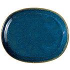 Oneida F1468994355 Studio Pottery Blue Moss 10 1/4 inch Porcelain Oval Platter - 12/Case