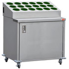 Steril-Sil ENC36-18RP-HUNTER Stainless Steel Silverware Cart with 18 Hunter Green Silverware Cylinders