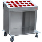Steril-Sil CRT36-18RP-RED 36 inch Open Base Stainless Steel Silverware / Tray Cart with 18 Red Silverware Cylinders