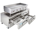 Cooking Performance Group 60GMRBNL 60 inch Gas Countertop Griddle with Manual Controls and 4 Drawer Refrigerated Chef Base - 150,000 BTU