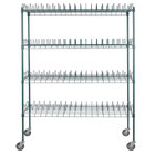 Regency 24 inch x 60 inch Green Epoxy Drying Rack Shelf Kit with 64 inch Posts and Casters - 3 inch Slots