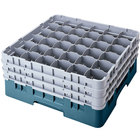 Cambro 36S958414 Teal Camrack Customizable 36 Compartment 10 1/8 inch Glass Rack