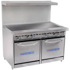 Bakers Pride Restaurant Series 48-BP-0B-G48-S20 Natural Gas Range with Two Space Saver 20 inch Ovens and 48 inch Griddle