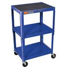 Luxor W42ABU Blue Metal 3 Shelf Adjustable Height A/V Utility Cart - 18 inch x 24 inch x 42 inch