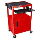 Luxor AVJ42KBC-RD Red Mobile Computer Cart / Workstation 24 inch x 18 inch with Locking Cabinet and Keyboard Shelf