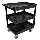 Luxor TC111SP6-B Black 3 Tub Utility Cart - 24 inch x 32 inch x 38 1/2 inch