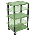 "Luxor WT1642GE-B Green Tuffy 3 Shelf Adjustable Height A/V Cart with Black Legs - 18"" x 24"""