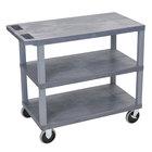 Luxor EC222HD-G Gray Heavy-Duty 3 Flat Shelf Utility Cart - 35 1/4 inch x 18 inch x 35 1/2 inch