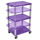 "Luxor WT1642PE-N Purple Tuffy 3 Shelf Adjustable Height A/V Cart with Nickel Legs - 18"" x 24"""