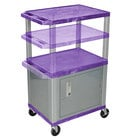 "Luxor WT2642PC4E-N Purple Tuffy 2 Shelf Adjustable Height A/V Cart with Nickel Legs and Locking Cabinet - 18"" x 24"""