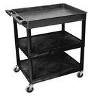 "Luxor TC122-B Black 1 Tub, 2 Shelf Utility Cart - 32"" x 24"" x 35"""