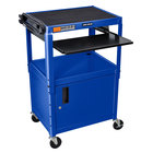 Luxor AVJ42KBC-RB Blue Mobile Computer Cart / Workstation 24 inch x 18 inch with Locking Cabinet and Keyboard Shelf