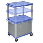 "Luxor WT2642BUC4E-N Blue Tuffy 2 Shelf Adjustable Height A/V Cart with Nickel Legs and Locking Cabinet - 18"" x 24"""