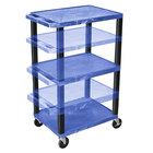 Luxor WT1642BUE-B Blue Tuffy 3 Shelf Adjustable Height A/V Cart with Black Legs - 18 inch x 24 inch