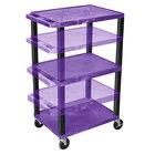 Luxor WT1642PE-B Purple Tuffy 3 Shelf Adjustable Height A/V Cart with Black Legs - 18 inch x 24 inch
