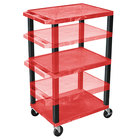 "Luxor WT1642RE-B Red Tuffy 3 Shelf Adjustable Height A/V Cart with Black Legs - 18"" x 24"""