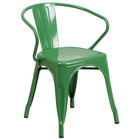 Flash Furniture CH-31270-GN-GG Green Stackable Galvanized Steel Chair with Arms, Vertical Slat Back, and Drain Hole Seat
