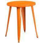 Flash Furniture CH-51080-29-OR-GG 24 inch Orange Metal Indoor / Outdoor Round Cafe Table