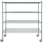 Regency 30 inch x 72 inch NSF Green Epoxy Shelf Kit with 64 inch Posts and Casters