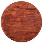Lancaster Table & Seating 30 inch Round Recycled Wood Butcher Block Table Top with Mahogany Finish