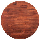 Lancaster Table & Seating 36 inch Round Recycled Wood Butcher Block Table Top with Mahogany Finish