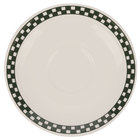 Homer Laughlin Black Checkers 6 inch Creamy White / Off White China Boston Saucer - 36/Case