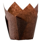 Hoffmaster 611104 2 1/4 inch x 4 inch Chocolate Brown Tulip Baking Cup - 250/Pack