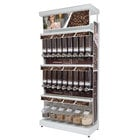 "Rosseto GK1011 Bulkshop Free Standing Coffee Merchandising Gondola with Canisters and Scoop Bins - 50"" x 25 13/16"" x 108"""