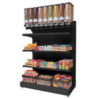 Rosseto GK2202 Bulkshop Black Free Standing Merchandising Gondola with Canisters and Shelving - 50 inch x 25 13/16 inch x 82 inch