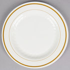 WNA Comet MP6IPREM 6 inch Ivory Masterpiece Plastic Plate with Gold Accent Bands   - 15/Pack