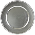 10 Strawberry Street LAS-24D 13 inch Beaded Rim Lacquer Round Silver Charger Plate