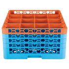 Carlisle RG16-4C412 OptiClean 16 Compartment Orange Color-Coded Glass Rack with 4 Extenders