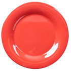 Thunder Group CR010RD 10 1/2 inch Orange Wide Rim Melamine Plate - 12/Pack