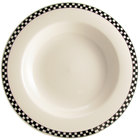 Homer Laughlin Black Checkers 20 oz. Creamy White / Off White China Pasta Bowl - 12/Case