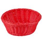 Tablecraft HM1175RD 8 1/4 inch x 3 1/4 inch Red Round Rattan Basket - 6/Pack