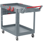 Rubbermaid 1997209 Gray Adaptable Heavy-Duty Medium Two Shelf Utility Cart - 51 1/2 inch x 25 3/16 inch x 36 inch