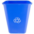 Continental 4114-1 41.25 Qt. / 10 Gallon Blue Rectangular Recycling Wastebasket / Trash Can