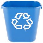 Rubbermaid FG295573BLUE 13 Qt. Blue Recycling Rectangular Wastebasket
