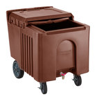 Choice 125 lb. Brown Mobile Ice Bin