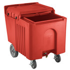Choice 125 lb. Red Mobile Ice Bin