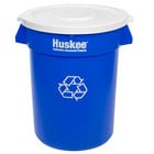 Continental Huskee 32 Gallon Blue Recycling Trash Can and Lid Kit