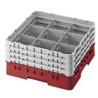 Cambro 9S958416 Cranberry Camrack Customizable 9 Compartment 10 1/8 inch Glass Rack