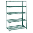 Metro 5A467K3 Stationary Super Erecta Adjustable 2 Series Metroseal 3 Wire Shelving Unit - 21 inch x 60 inch x 74 inch