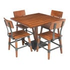 Lancaster Table & Seating 36 inch x 36 inch Solid Wood Live Edge Dining Height Table and 4 Chairs with Antique Walnut Finish