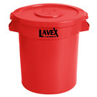 Lavex Janitorial 10 Gallon Red Round Commercial Trash Can and Lid