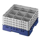 Cambro 9S434186 Blue Camrack Customizable 9 Compartment 5 1/4 inch Glass Rack