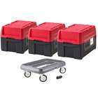 Metro Mightylite BigBoy Top Loading Full Size Insulated Pan Carrier Kit with Three Carriers and Dolly