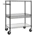 Alera ALESW543018BA Black Anthracite Three Shelf Mobile Wire Cart with Basket - 34 inch x 18 inch x 40 inch