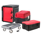 Metro Mightylite Insulated Pan Carrier Kit with Two Top Load Carriers, One Front Load Carrier, and Dolly